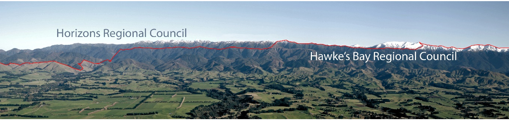 Landscape - Hills with dividing line between Horizons and Hawke's Bay Regional Councils